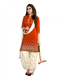 Eid Special Orange Cotton Un-Stitched Salwar Suit - EBSFSK291001H