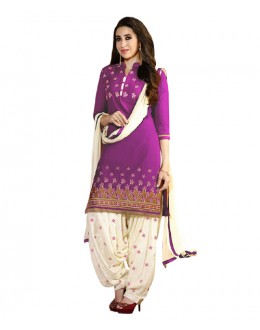 Eid Special Purple Cotton Un-Stitched Salwar Suit - EBSFSK291001J
