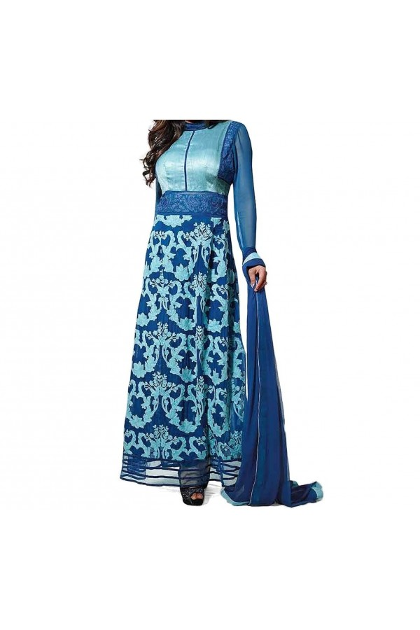 Party Wear Blue Designer  Anarkali  Suit  -  Blue 106