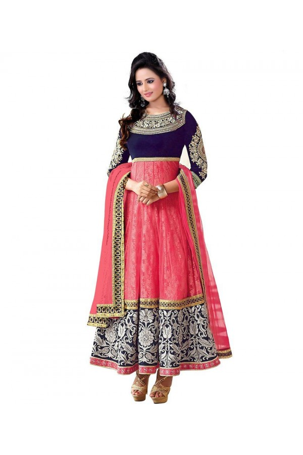 Party Wear Pink Designer Anarkali Suit  - Mahi Pink