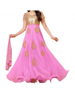 Party Wear Pink Designer Anarkali Suit  - Pink Butta