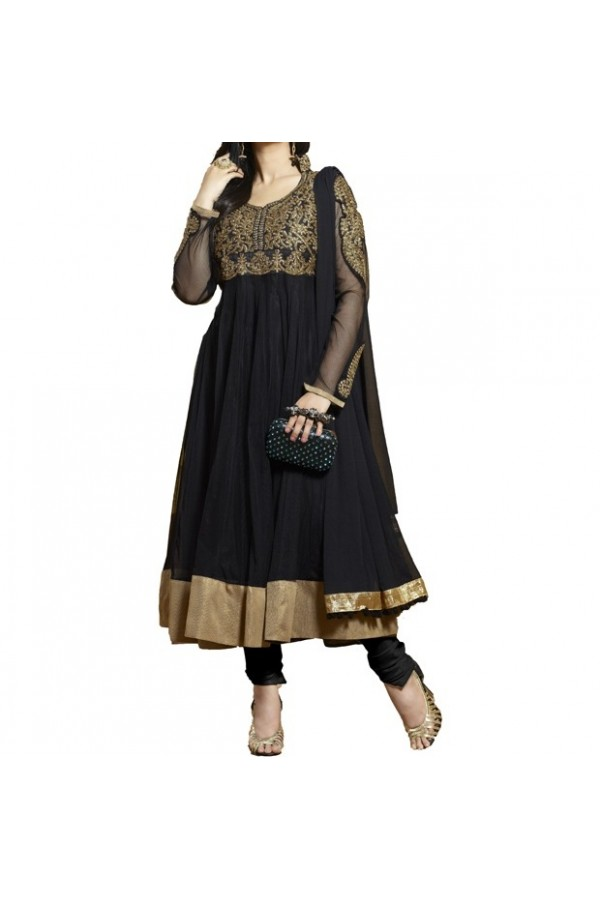 Party Wear Black Georgette Salwar Suit - EF013