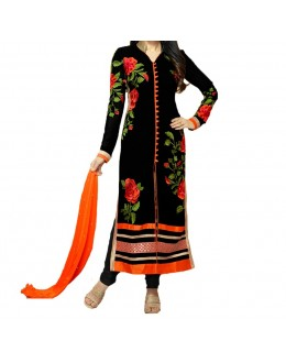 Party Wear Black Georgette Salwar Suit - EF021