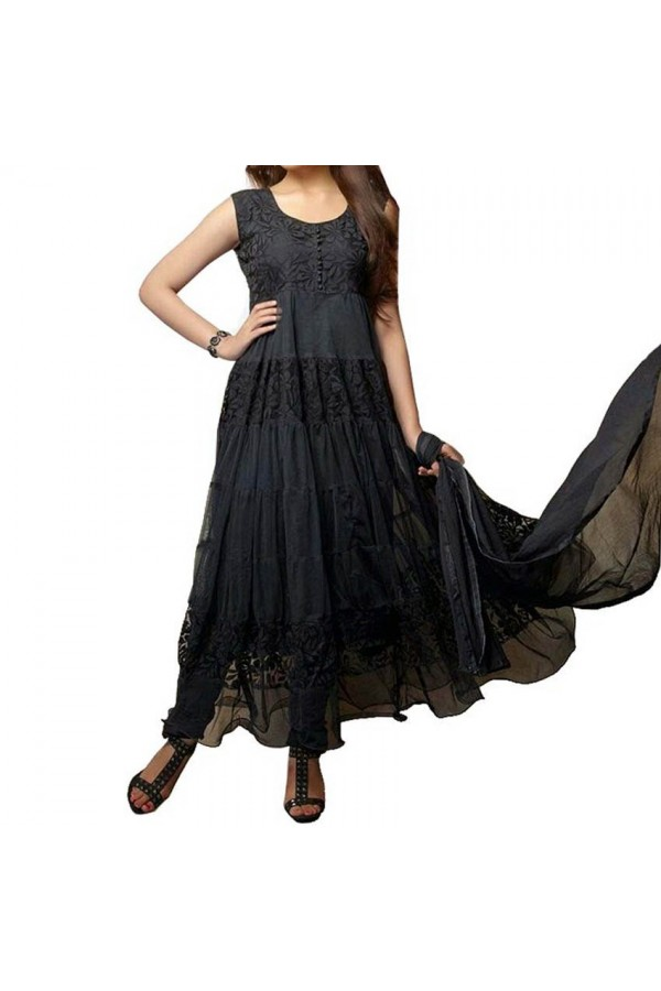 Party Wear Black Net Salwar Suit - EF078
