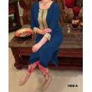 Party Wear Blue Georgette Salwar Suit - EF031