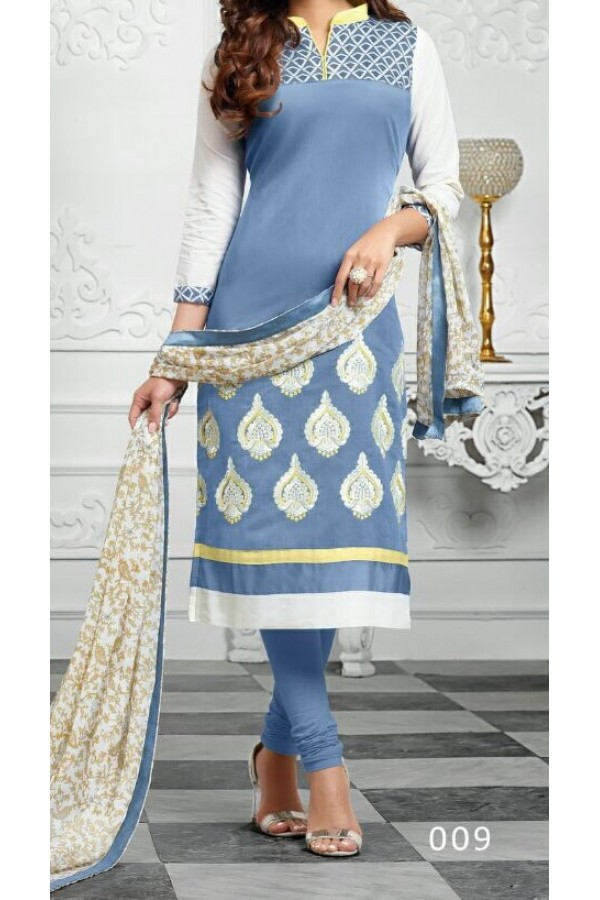 Party Wear Blue Georgette Salwar Suit - EF039