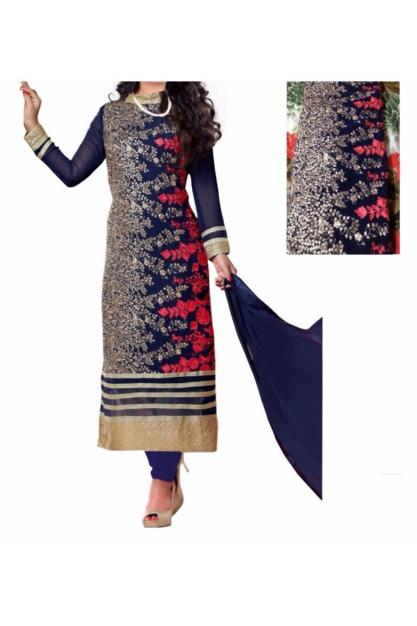 Party Wear Blue Georgette Salwar Suit - EF060