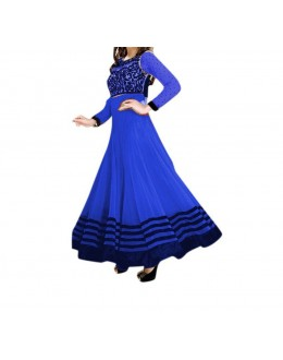 Party Wear Blue Net Embroidery Salwar Suit - EF049