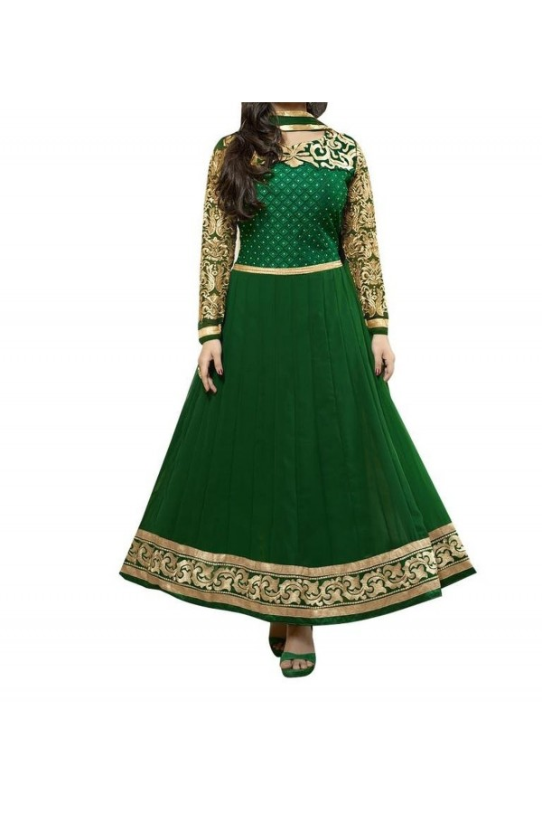 Party Wear Green Georgette Salwar Suit - EF073
