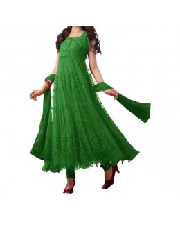 Party Wear Green Net Salwar Suit - EF081