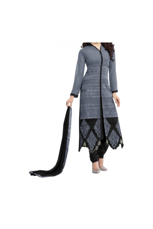 Party Wear Grey Cotton Printed  Salwar Suit - EF058