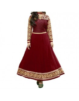 Party Wear Maroon Georgette Salwar Suit - EF074