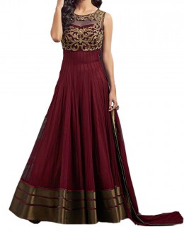 Party Wear Maroon Net Embroided Salwar Suit - EF035