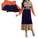 Party Wear Navy Blue & Orange Georgette Salwar Suit - EF014