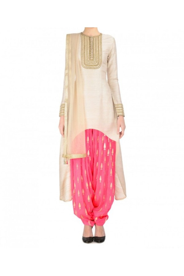 Party Wear Pink & Cream Printed Salwar Suit - EF053