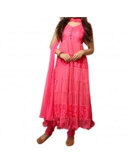 Party Wear Pink Net Salwar Suit - EF083