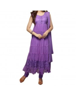 Party Wear Purple Net Salwar Suit - EF084