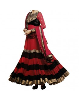 Party Wear Red Georgette Salwar Suit - EF010
