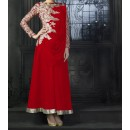 Party Wear Red Georgette Salwar Suit - EF065