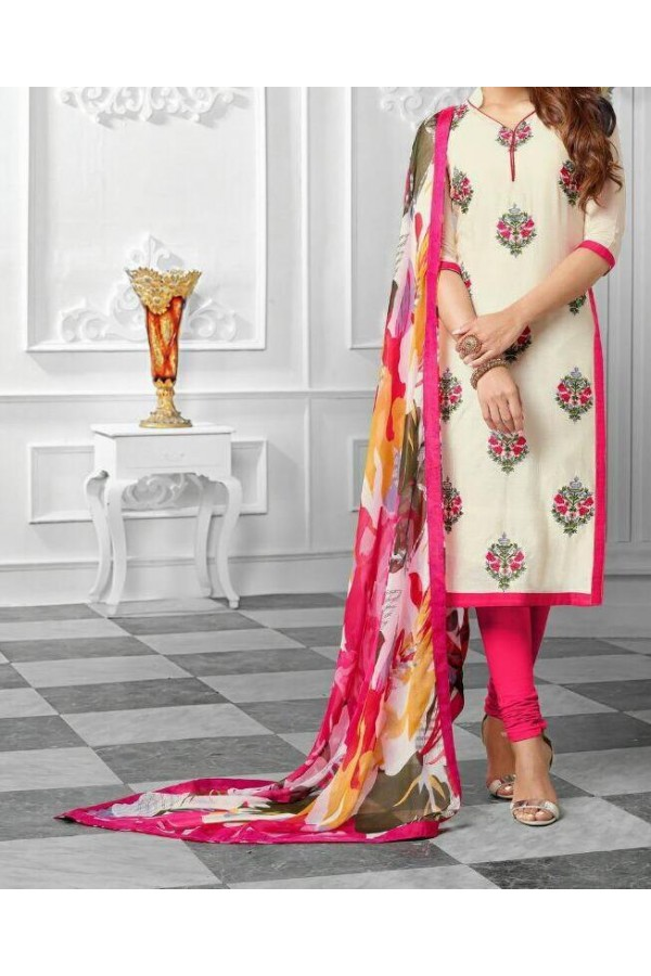 Party Wear White & pink Georgette Salwar Suit - EF046