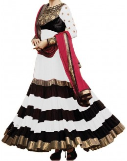 Party Wear WhiteGeorgette Salwar Suit - EF011