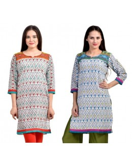 Readymade Crepe Blue & Orange Combo Kurti - KRT6077