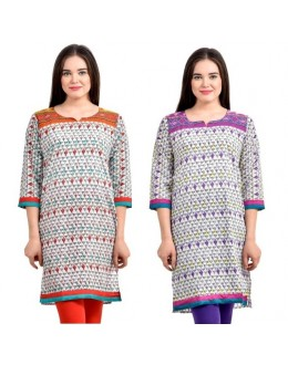 Readymade Crepe Purple & Orange Combo Kurti - KRT6074