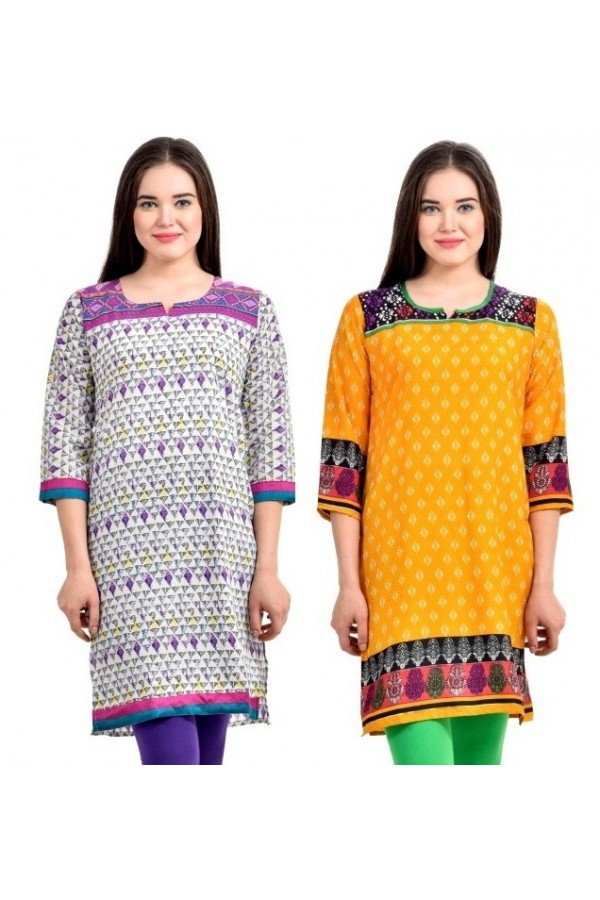 Readymade Crepe Purple & yellow Combo Kurti - KRT7475