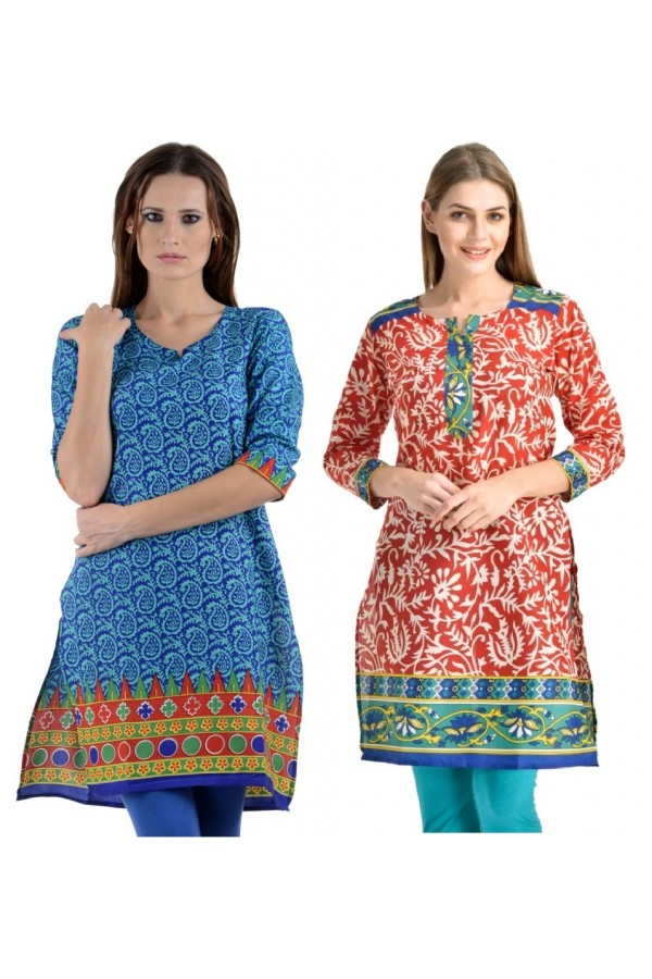 Readymade Crepe Sky Blue &  Red Combo Kurti - KRT6071