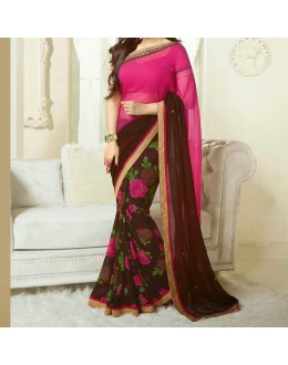 Party Wear Pink Georgette  Saree - 19904