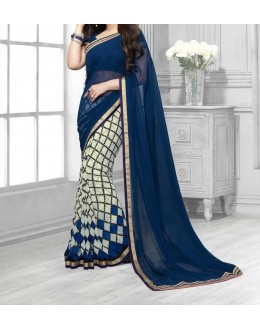 Party Wear Blue Georgette  Saree - 19905