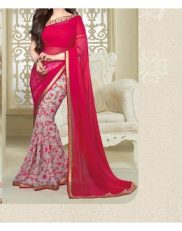 Party Wear Pink Georgette  Saree - 19906