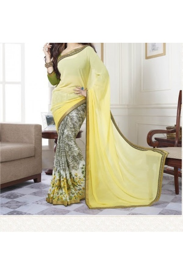 Party Wear Yellow Georgette  Saree - 19912