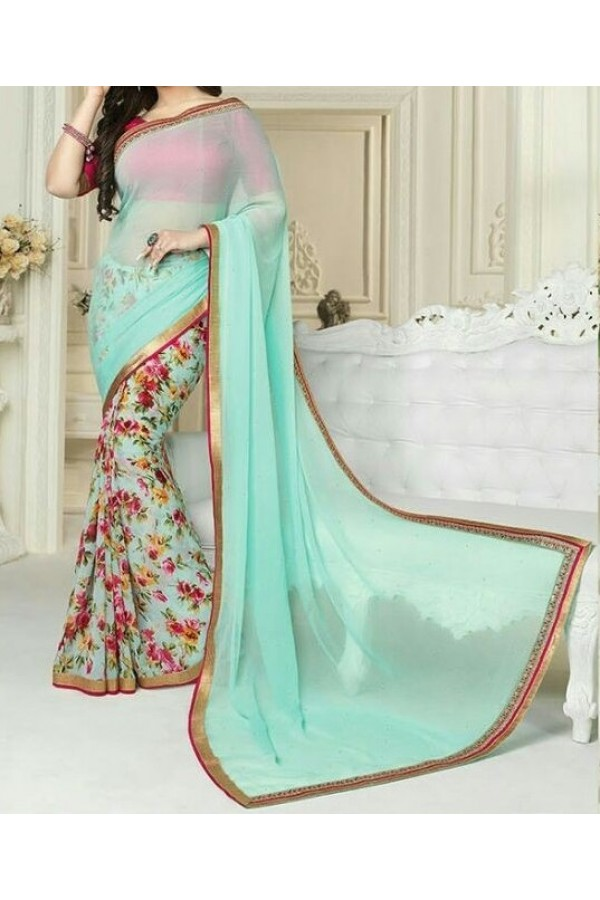 Party Wear Sea Green Georgette  Saree - 19913