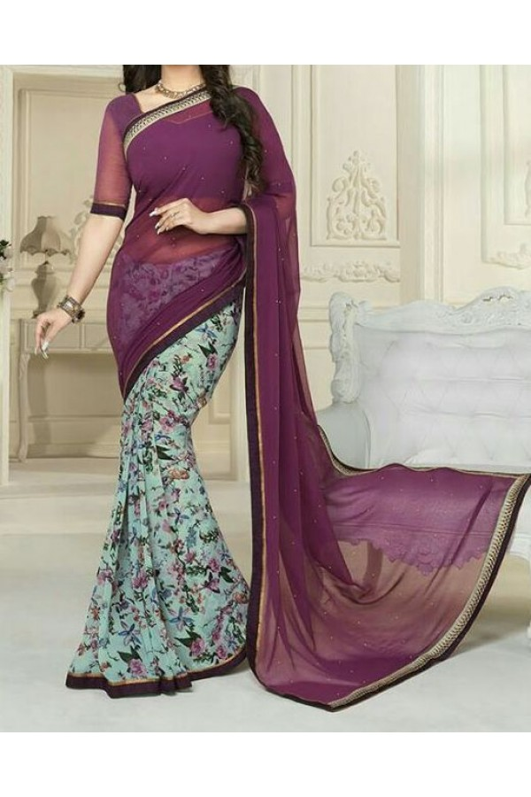 Party Wear Purple Georgette  Saree - 19914