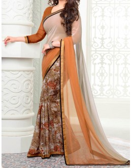 Party Wear Orange Georgette  Saree - 19916