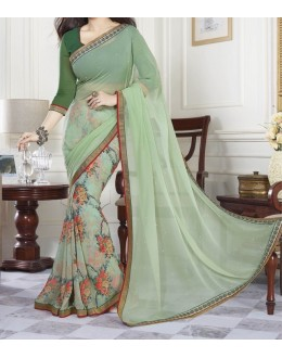 Party Wear Green Georgette  Saree - 19917