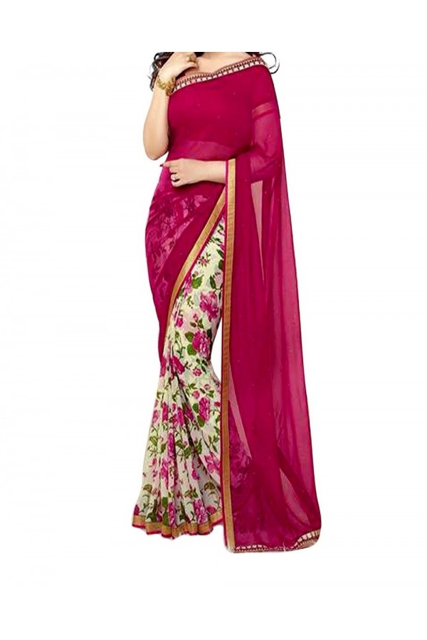 Party Wear Maroon Georgette  Saree - 19918