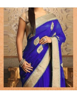 Party Wear Blue Georgette  Saree - 19923