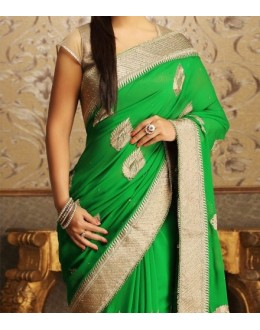 Party Wear Green Georgette  Saree - 19924