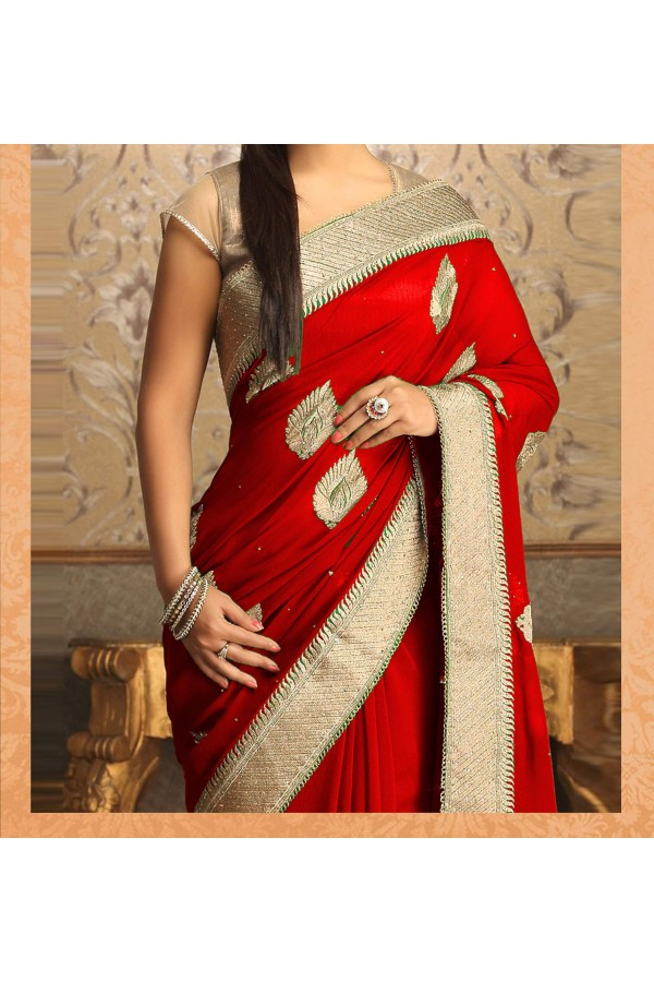 Party Wear Red Georgette  Saree - 19925