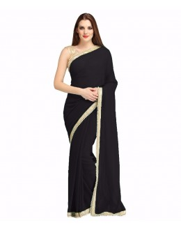 Party Wear Balck Georgette  Saree - 19931