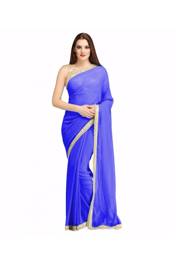 Party Wear Blue Georgette  Saree - 19932