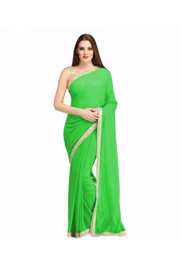 Party Wear Green Georgette  Saree - 19934