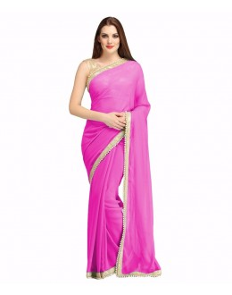 Party Wear pink Georgette  Saree - 19936
