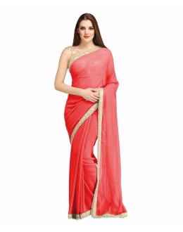 Party Wear Red Georgette  Saree - 19938