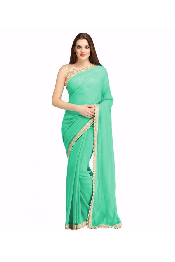 Party Wear Firozi Georgette  Saree - 19933