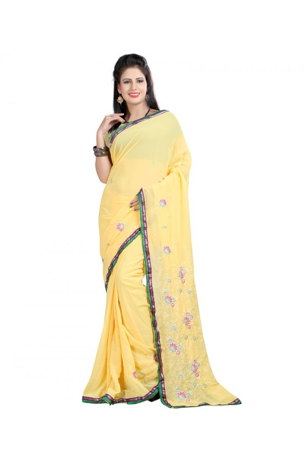 Party Wear Yellow Georgette  Saree - 19941