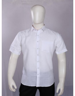 Officer Fit Wrinkle Free Linen White Formal Shirt - EC2002 - EC01