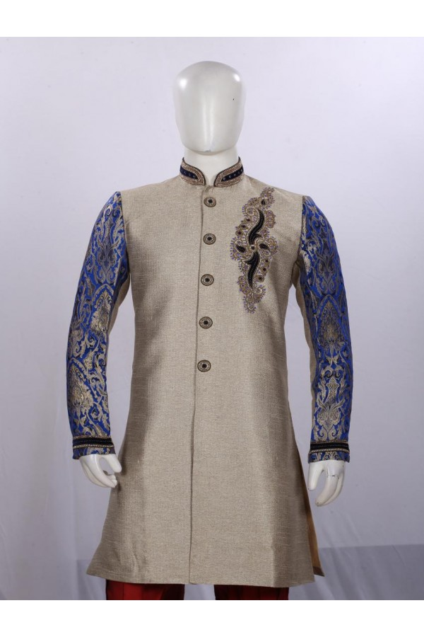 Ethnic Wear Embroidered Light Fawn Angarakha - BE8839 - ECAS05